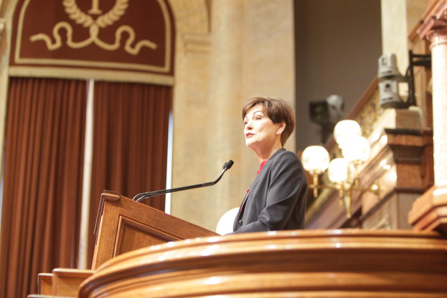 Iowa Gov. Kim Reynolds delivers her Condition of the State address in the House chamber of the State Capitol Building in Des Moines on Jan. 15, 2019. In the address, her first as an elected governor, she largely outlined bipartisan initiatives which have received widespread support.