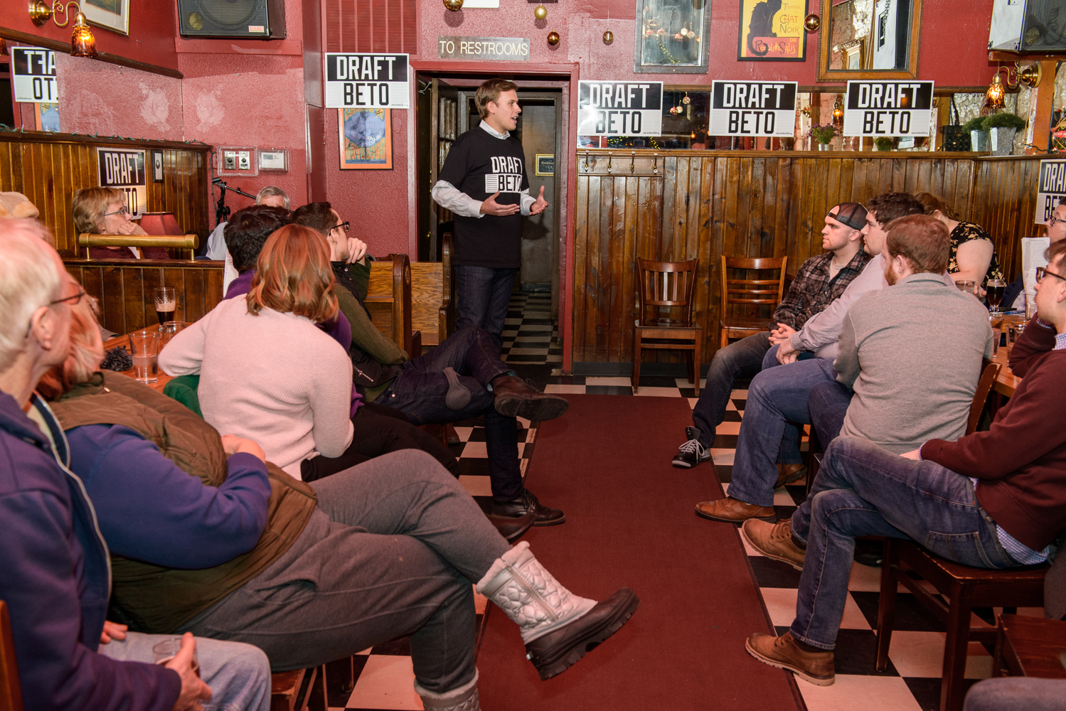 Draft Beto organizer Will Heberberich speaks during a meeting of the group at the Sanctuary Pub in Iowa City on Wednesday, January 16, 2019. Draft Beto is a group seeking to build grassroots support for former Rep. Beto O'Rourke, D-Texas. O'Rourke has not announced a campaign for president in 2020.