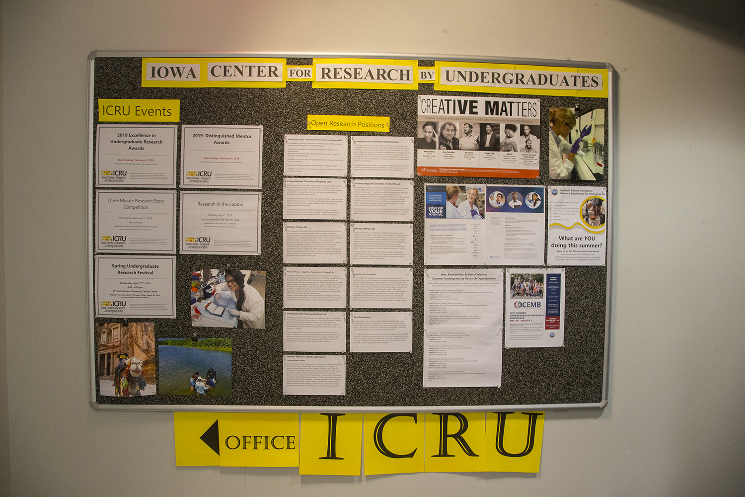 An events board is seen at the Center for Research by Undergrads in the Blank Honors Center on Jan. 22.