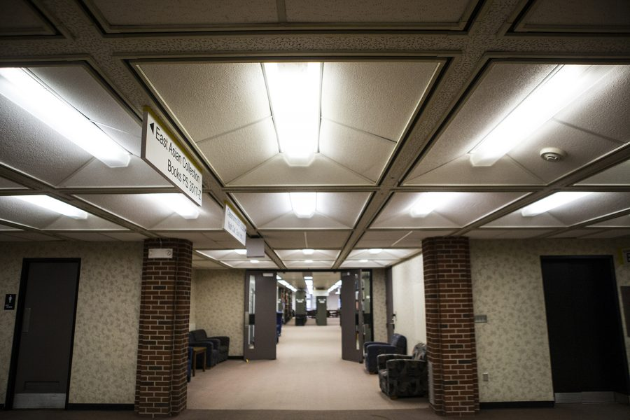 Eco friendly lighting fixtures are seen at the University of Iowas Main Library on Thursday, December 13, 2018.