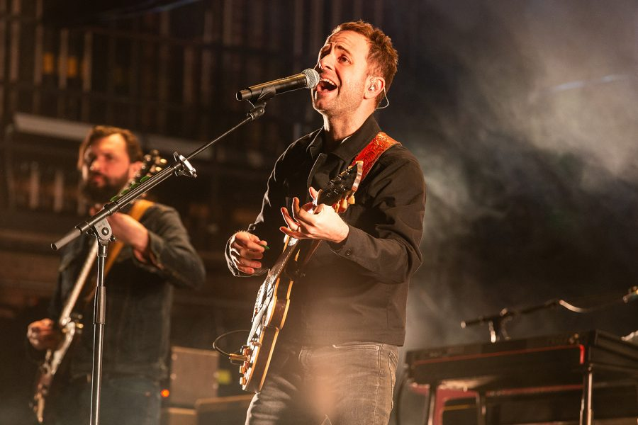 Lead+vocalist+and+guitarist+Taylor+Goldsmith+of+Dawes+sings+during+%22An+Evening+with+Dawes%22+at+the+Englert+Theater+in+Iowa+City+on+Sunday%2C+Jan.+27%2C+2019.+Dawes+is+an+American+folk-rock+band+hailing+from+Los+Angeles.