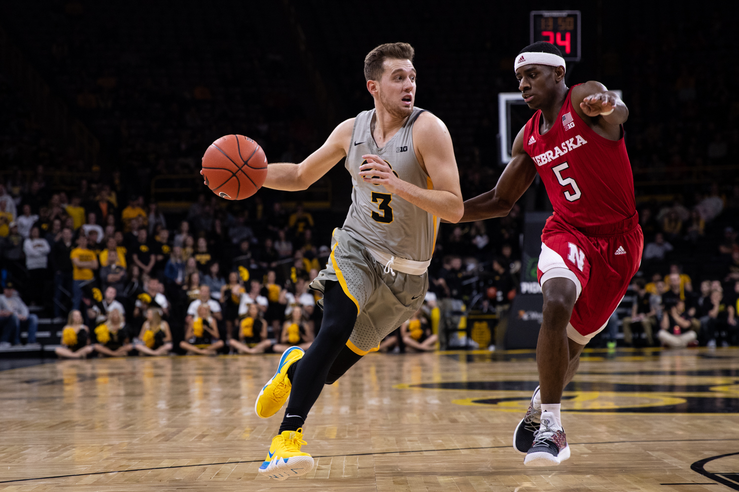 Iowa guard Jordan Bohannon drives to the basket during Iowa's game against Nebraska at Carver-Hawkeye Arena on Sunday, January 6, 2019. The Hawkeyes defeated the Cornhuskers 93-84.