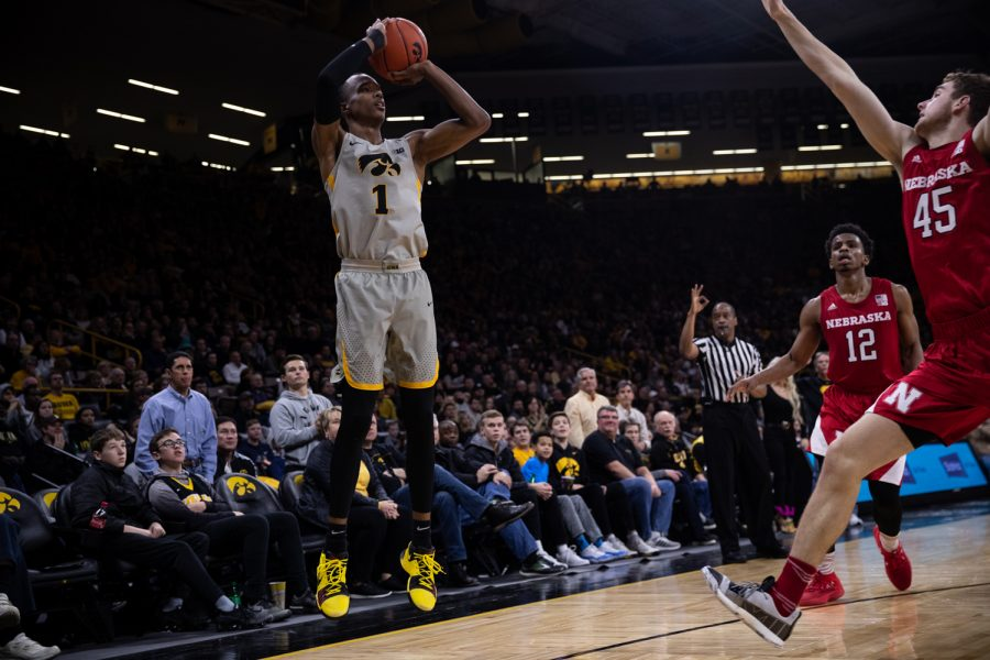 Iowa+guard+Maishe+Dailey+shoots+a+three+during+Iowas+game+against+Nebraska+at+Carver-Hawkeye+Arena+on+Sunday%2C+January+6%2C+2019.+The+Hawkeyes+defeated+the+Cornhuskers+93-84.