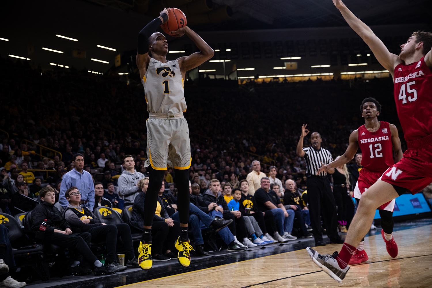 Iowa guard Maishe Dailey shoots a three during Iowa's game against Nebraska at Carver-Hawkeye Arena on Sunday, January 6, 2019. The Hawkeyes defeated the Cornhuskers 93-84.