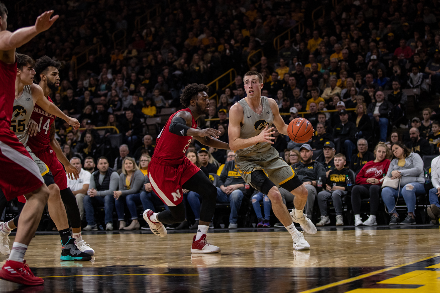 Iowa guard Joe Wieskamp dribbles the ball during Iowa's game against Nebraska at Carver-Hawkeye Arena on Sunday, January 6, 2019. The Hawkeyes defeated the Cornhuskers 93-84.