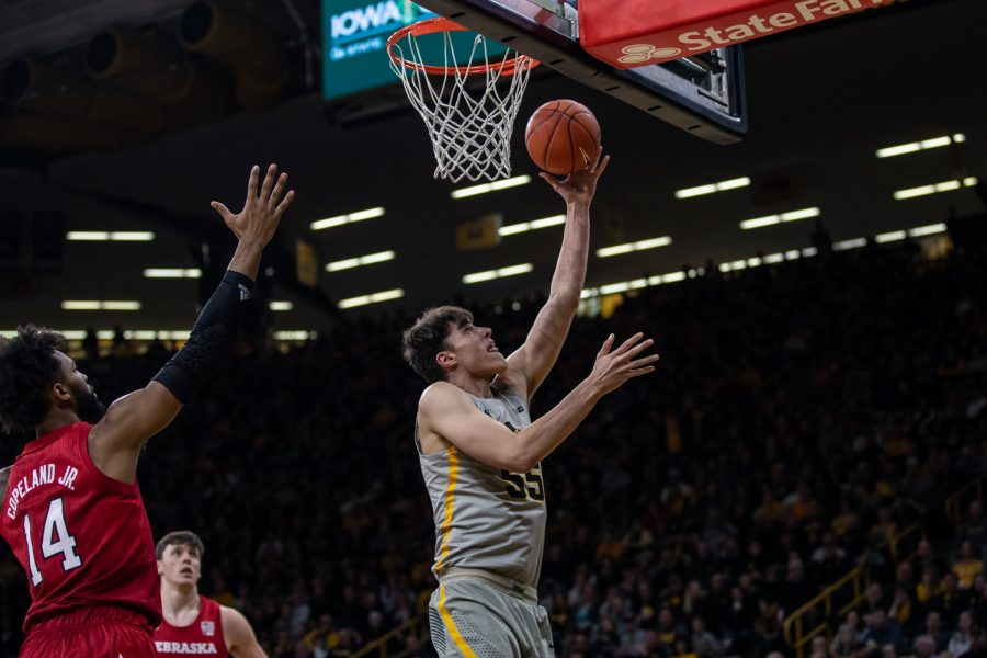 Iowa+forward+Luka+Garza+lays+the+ball+up+during+Iowa%27s+game+against+Nebraska+at+Carver-Hawkeye+Arena+on+Sunday%2C+January+6%2C+2019.+The+Hawkeyes+defeated+the+Cornhuskers+93-84.
