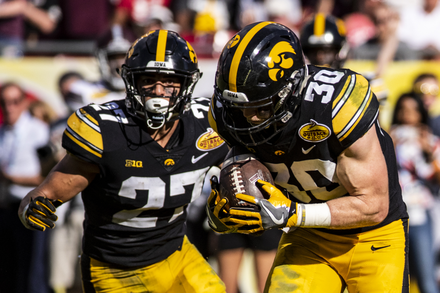 Iowa safety Jake Gervase intercepts a pass in the end zone during the Outback Bowl game between Iowa and Mississippi State at Raymond James Stadium in Tampa, Florida on Tuesday, January 1, 2019. The Hawkeyes defeated the Bulldogs 27-22.