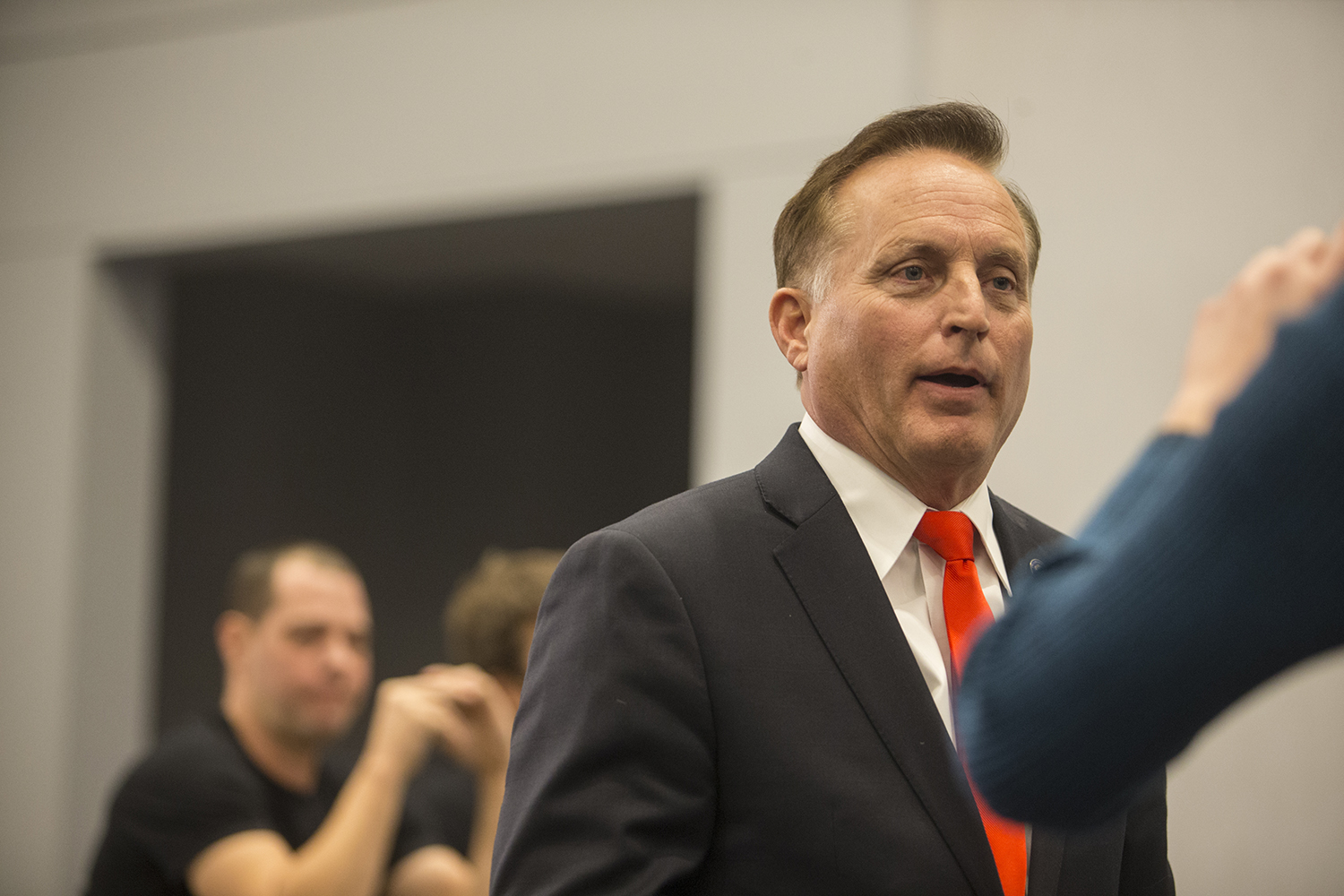 Secretary of State Paul Pate addresses members of the media at the Kim Reynolds watch party at the Hilton in Des Moines on Tuesday Nov. 6, 2018.