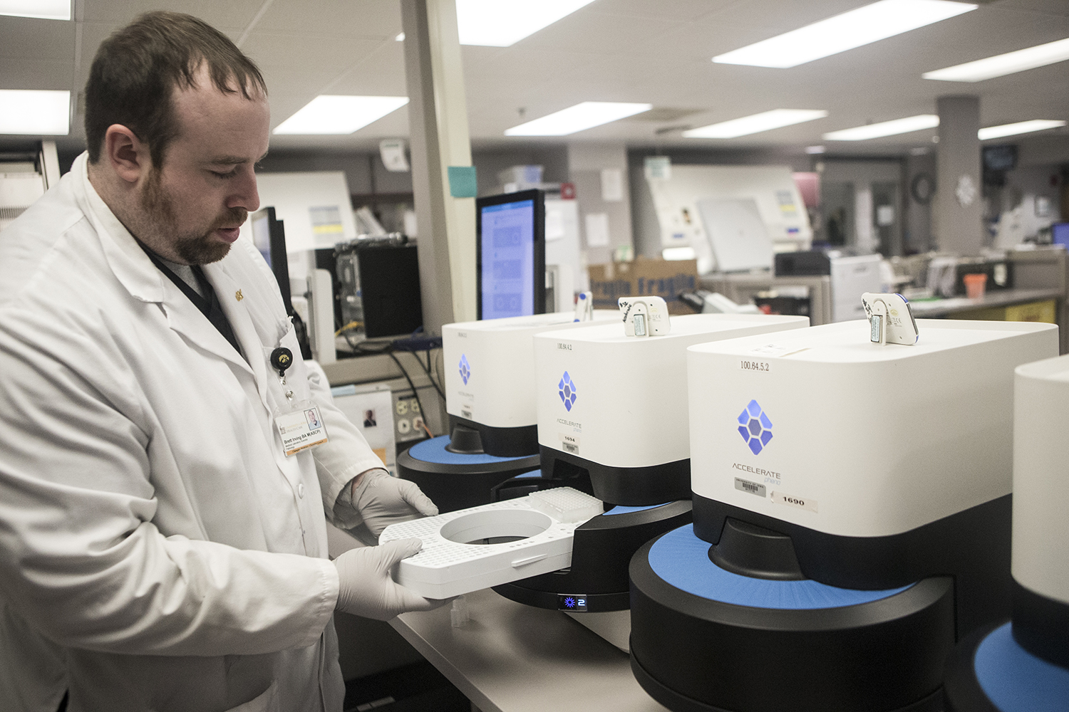 The Accelerate Pheno, a new technology that diagnoses Sepsis, is seen in a lab at the University of Iowa Hospitals and Clinics on Tuesday, January 22, 2019. Lab scientist Brett Irving demonstrates how to use the technology.