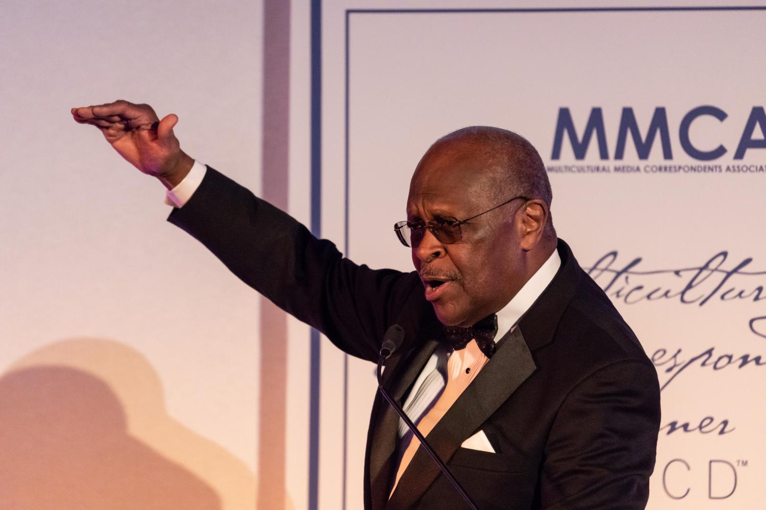 Herman Cain, host of The Herman Cain Show, speaks at the Third Annual Multicultural Media Correspondents Dinner at the National Press Club in Washington, D.C. on Thursday, May 24, 2018. (Photo by Cheriss May/Sipa USA/TNS)