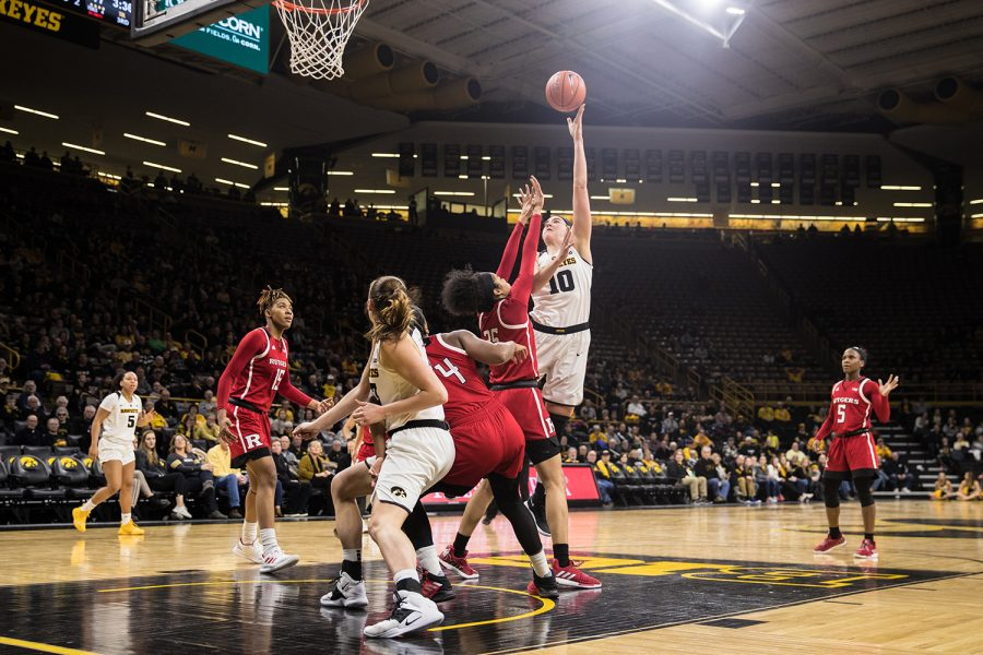 Iowa+center+Megan+Gustafson+lays+the+ball+up+during+a+women%27s+basketball+matchup+between+Iowa+and+Rutgers+at+Carver-Hawkeye+Arena+on+Wednesday%2C+January+23%2C+2019.+The+Hawkeyes+defeated+the+Scarlet+Knights%2C+72-66.