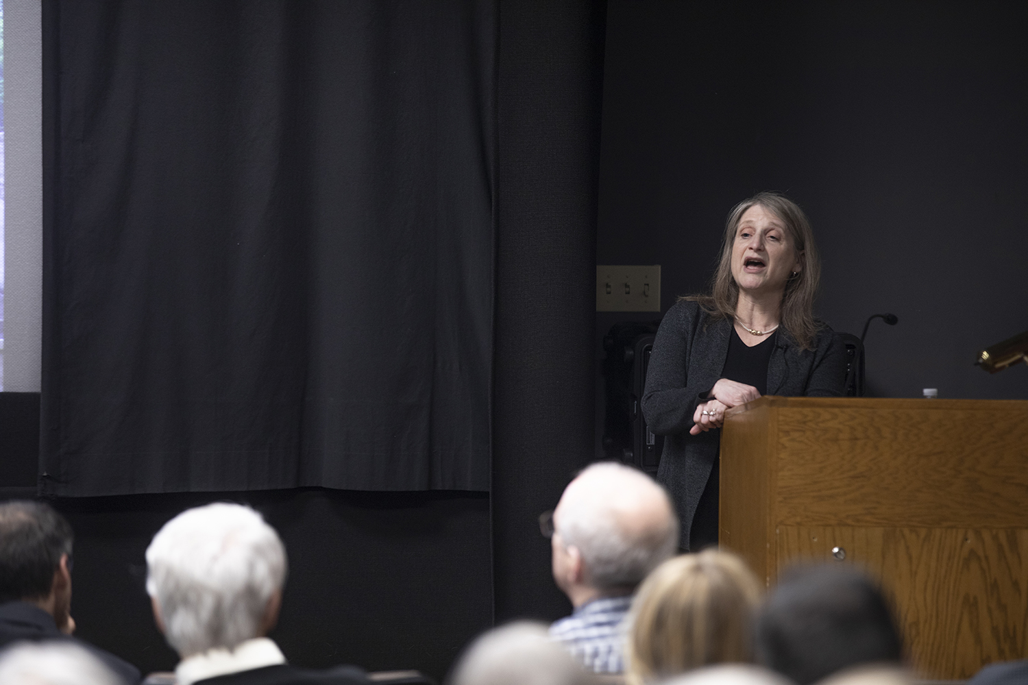 Margaret Raymond speaks during the second provost candidate meeting Monday afternoon on Jan. 28, 2019. This is the second of four provost meetings meant to fulfill the position.