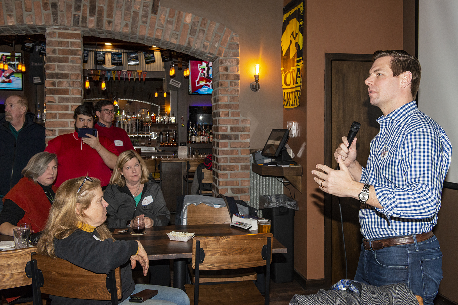 Rep. Eric Swalwell, D-Calif., speaks during a trip to Iowa at the Brick Alley Pub in Marion, Iowa on Sunday, Jan. 27, 2018. Rep. Swalwell is considering a bid for the 2020 Democratic Nomination for President.