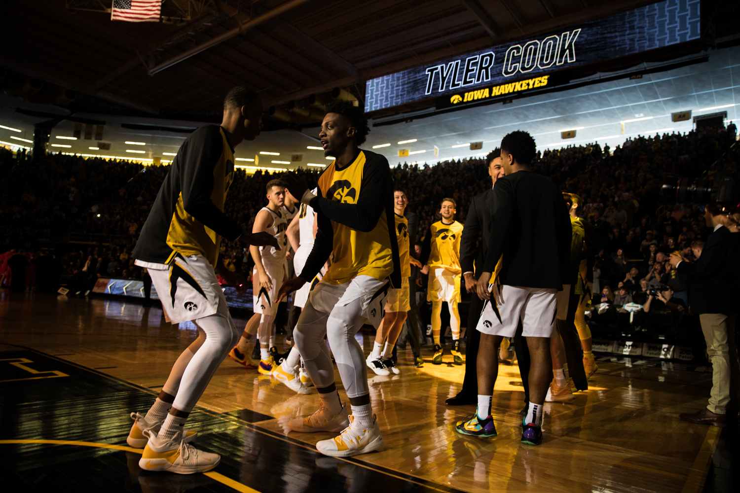 Tyler+Cook+is+introduced+during+a+men%27s+basketball+matchup+between+Ohio+State+and+Iowa+at+Carver-Hawkeye+Arena+on+Saturday%2C+January+12%2C+2019.+The+Hawkeyes+defeated+the+Buckeyes%2C+72-62.