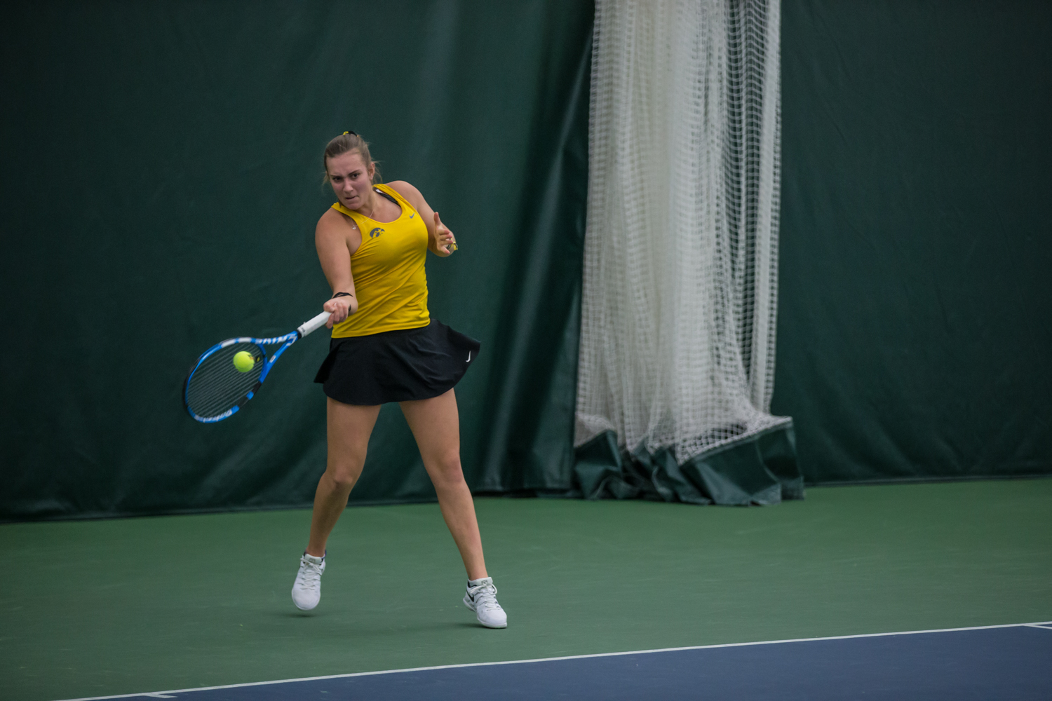 Iowa%27s+Ashleigh+Jacobs+hits+a+forehand+during+a+women%27s+tennis+match+between+Iowa+and+Xavier+at+the+Hawkeye+Tennis+and+Recreation+Center+on+Friday%2C+January+18%2C+2019.+The+Hawkeyes+swept+the+Musketeers%2C+7-0.