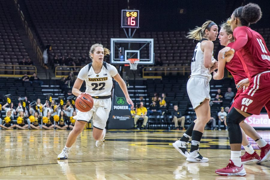 Iowa+guard+Kathleen+Doyle+dribbles+during+a+women%27s+basketball+matchup+between+Wisconsin+and+Iowa+on+Monday%2C+Jan.+7%2C+2019.+The+Hawkeyes+defeated+the+Badgers%2C+71-53.+