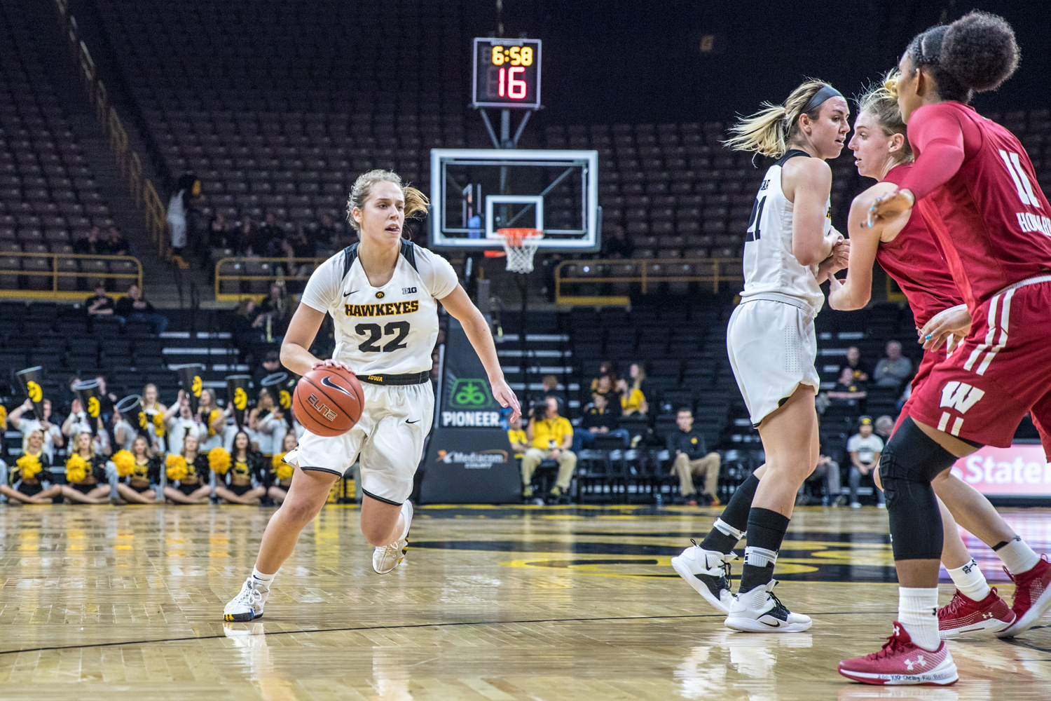 Iowa guard Kathleen Doyle dribbles during a women's basketball matchup between Wisconsin and Iowa on Monday, Jan. 7, 2019. The Hawkeyes defeated the Badgers, 71-53.