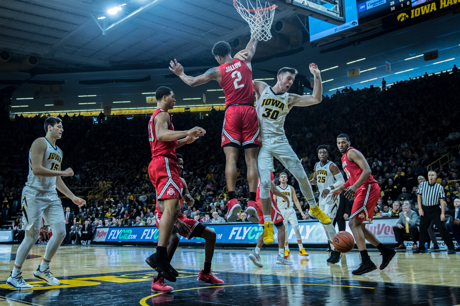 Iowa+guard+Connor+McCaffery+drives+to+the+net+during+a+men%27s+basketball+matchup+between+Ohio+State+and+Iowa+at+Carver-Hawkeye+Arena+on+Saturday%2C+January+12%2C+2019.+The+Hawkeyes+defeated+the+Buckeyes%2C+72-62.