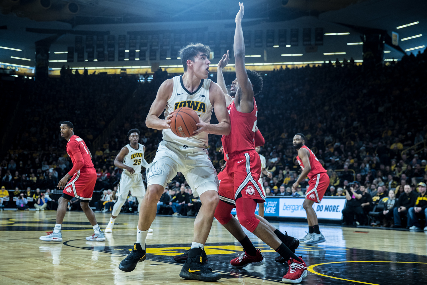 Iowa forward Luka Garza drives to the net during a men's basketball matchup between Ohio State and Iowa at Carver-Hawkeye Arena on Saturday, January 12, 2019. The Hawkeyes defeated the Buckeyes, 72-62.