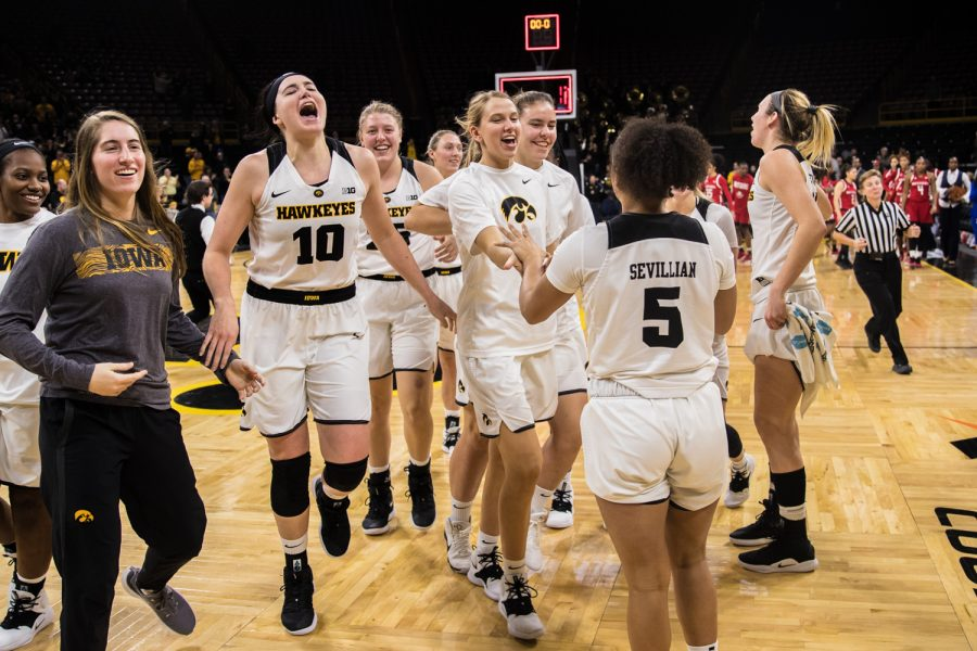 Iowa+players+celebrate+a+victory+after+a+women%27s+basketball+matchup+between+Iowa+and+Rutgers+at+Carver-Hawkeye+Arena+on+Wednesday%2C+January+23%2C+2019.+The+Hawkeyes+defeated+the+Scarlet+Knights%2C+72-66.