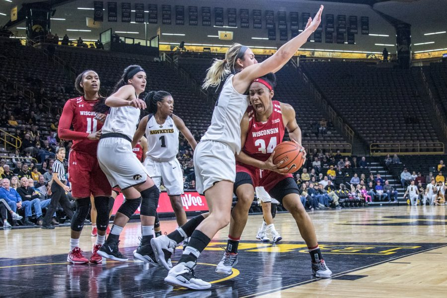 Wisconsin forward Imani Lewis drives to the basket during a women's basketball matchup between Wisconsin and Iowa on Monday, Jan. 7, 2019. The Hawkeyes defeated the Badgers, 71-53.