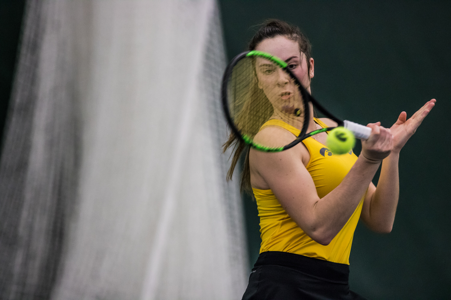 Iowa%27s+Samantha+Mannix+hits+a+forehand+during+a+women%27s+tennis+match+between+Iowa+and+Xavier+at+the+Hawkeye+Tennis+and+Recreation+Center+on+Friday%2C+January+18%2C+2019.+The+Hawkeyes+swept+the+Musketeers%2C+7-0.