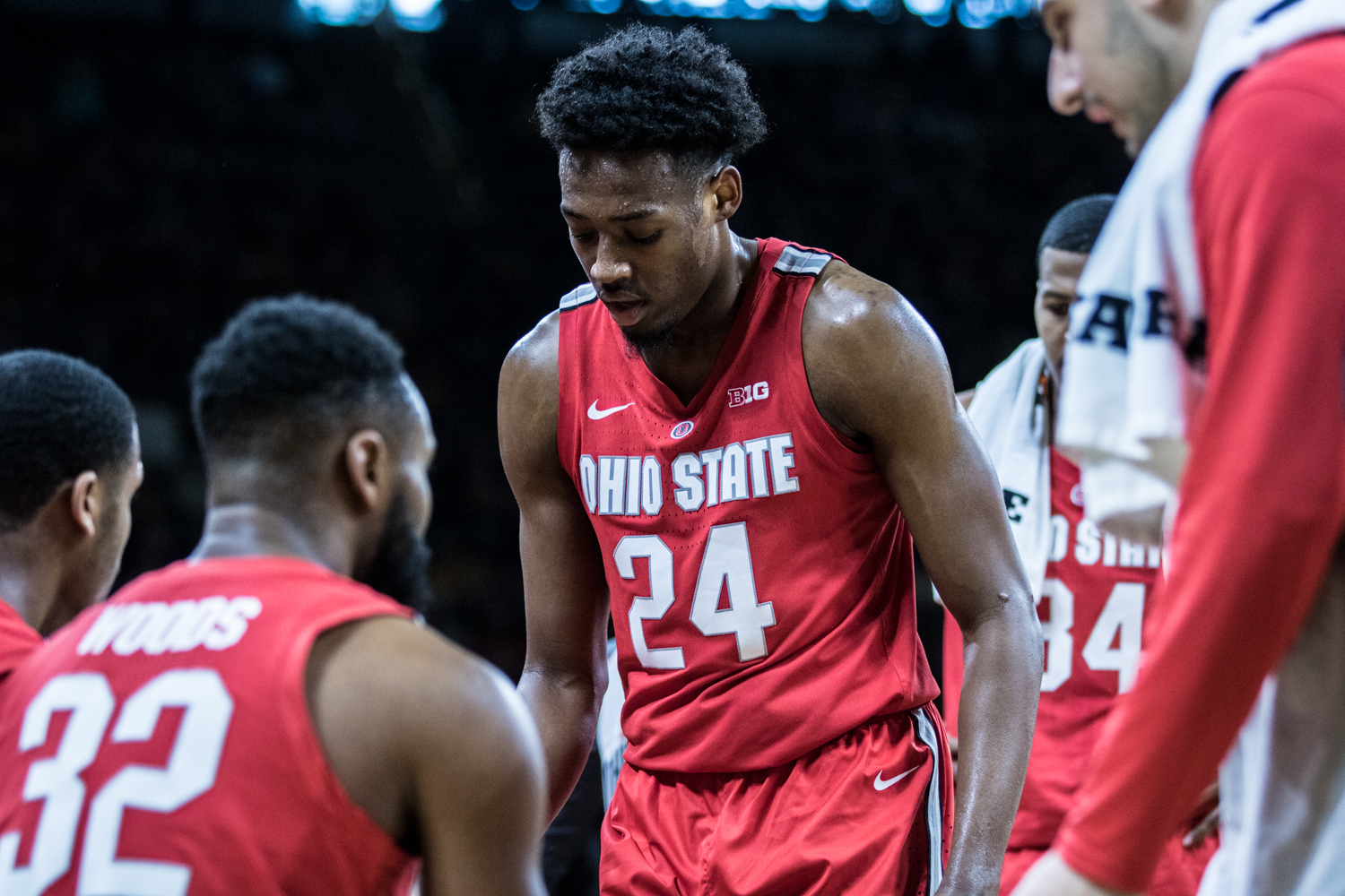 Ohio+State+forward+Andre+Wesson+meets+with+his+team+during+a+timeout+during+a+men%27s+basketball+matchup+between+Ohio+State+and+Iowa+at+Carver-Hawkeye+Arena+on+Saturday%2C+January+12%2C+2019.+The+Hawkeyes+defeated+the+Buckeyes%2C+72-62.