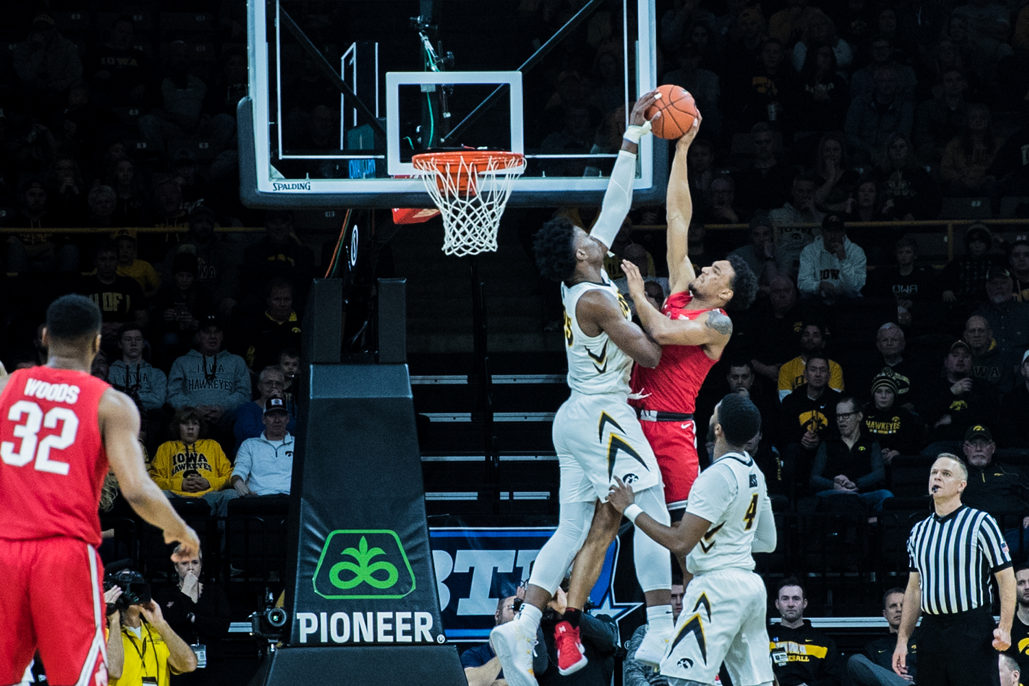 Iowa forward Tyler Cook blocks a layup during a men's basketball matchup between Ohio State and Iowa at Carver-Hawkeye Arena on Saturday, Jan. 12, 2019. The Hawkeyes defeated the Buckeyes, 72-62.