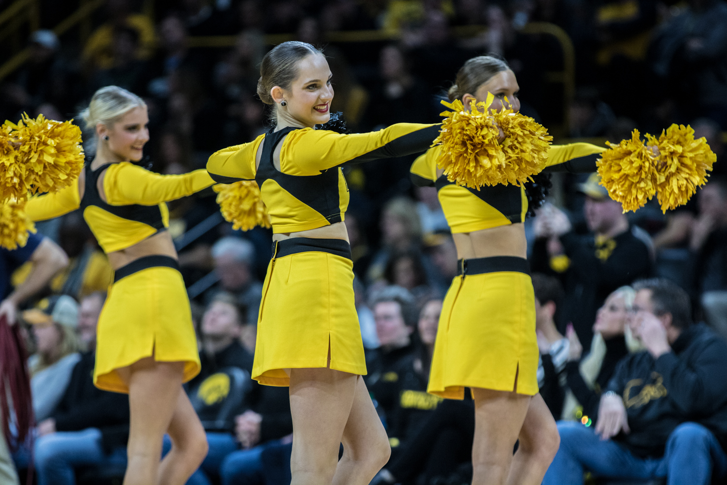 Iowa+cheerleaders+perform+during+a+timeout+during+a+men%27s+basketball+matchup+between+Ohio+State+and+Iowa+at+Carver-Hawkeye+Arena+on+Saturday%2C+January+12%2C+2019.+The+Hawkeyes+defeated+the+Buckeyes%2C+72-62.