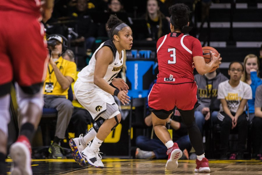 Iowa guard Tania Davis plays defense during a women's basketball matchup between Iowa and Rutgers at Carver-Hawkeye Arena on Wednesday, January 23, 2019. The Hawkeyes defeated the Scarlet Knights, 72-66.