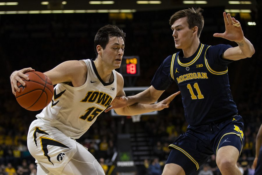Iowa+forward+Ryan+Kriener+drives+to+the+hoop+during+the+Iowa%2FMichigan+men%27s+basketball+game+at+Carver-Hawkeye+Arena+on+Friday%2C+February+1%2C+2019.+