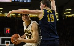 Iowa forward Luka Garza looks to the hoop during the Iowa/Michigan men's basketball game at Carver-Hawkeye Arena on Friday, February 1, 2019. The Hawkeyes took down the No. 5 ranked Wolverines, 74-59.