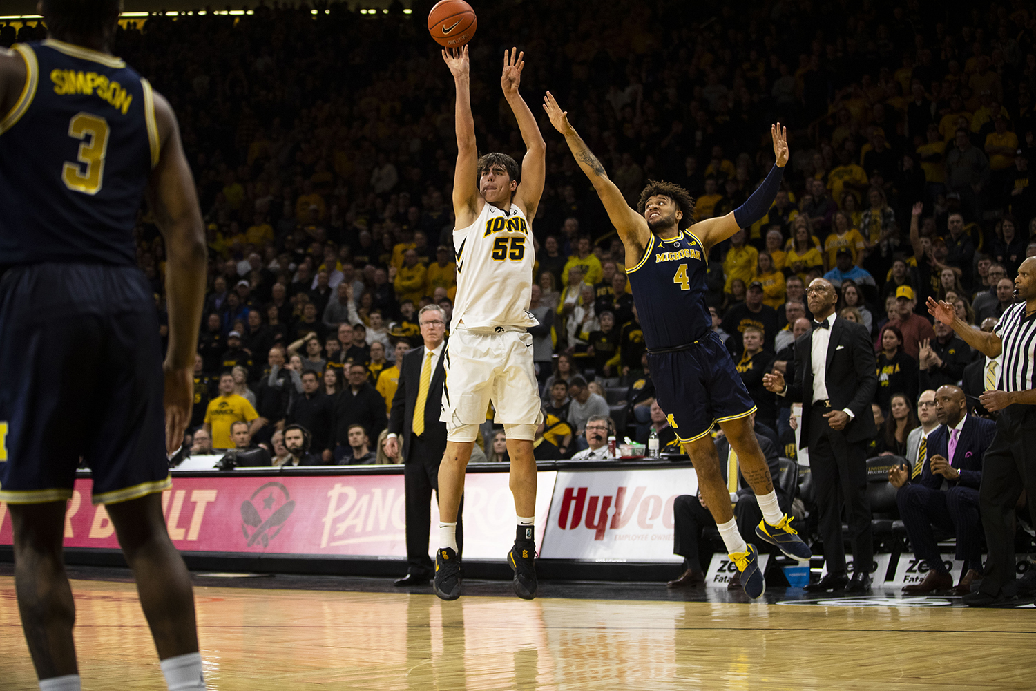 Iowa+forward+Luka+Garza+attempts+a+3-pointer+during+the+Iowa%2FMichigan+men%27s+basketball+game+at+Carver-Hawkeye+Arena+on+Friday%2C+February+1%2C+2019.+The+Hawkeyes+took+down+the+No.+5+ranked+Wolverines%2C+74-59.+