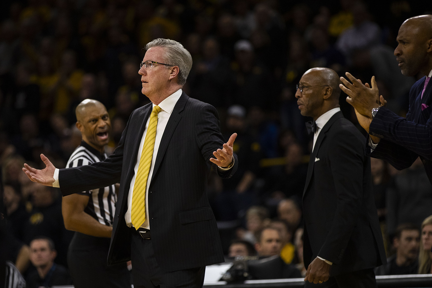 Iowa+head+coach+Fran+McCaffery+gestures+during+the+Iowa%2FMichigan+men%27s+basketball+game+at+Carver-Hawkeye+Arena+on+Friday%2C+February+1%2C+2019.+The+Hawkeyes+took+down+the+No.+5+ranked+Wolverines%2C+74-59.+