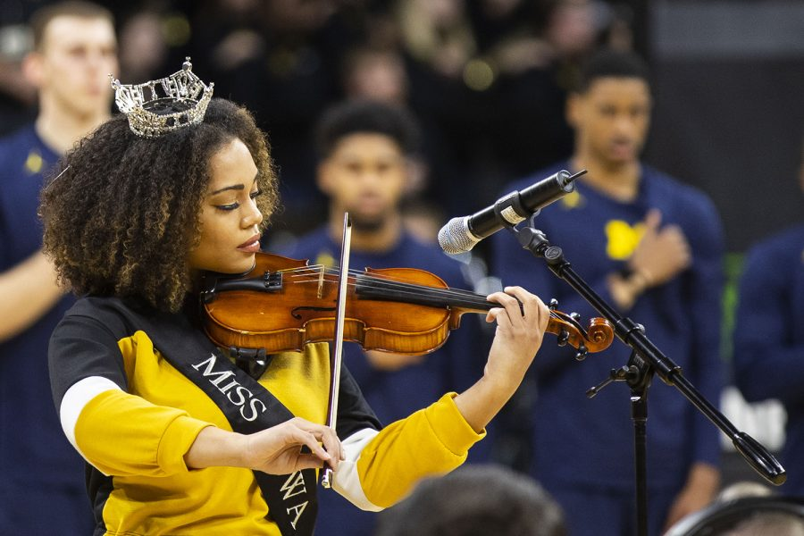 2018+Miss+Iowa+Mikhayla+Hughes-Shaw+performs+the+national+anthem+on+violin+during+the+Iowa%2FMichigan+men%27s+basketball+game+at+Carver-Hawkeye+Arena+on+Friday%2C+February+1%2C+2019.+The+Hawkeyes+took+down+the+No.+5+ranked+Wolverines%2C+74-59.+
