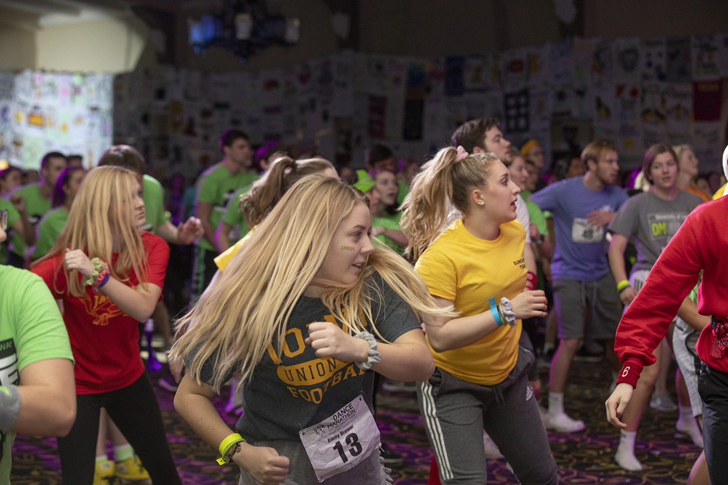 Participants+dance+in+the+early+morning+hours+during+Dance+Marathon+25+at+the+Iowa+Memorial+Union+on+Saturday%2C+February+2%2C+2019.