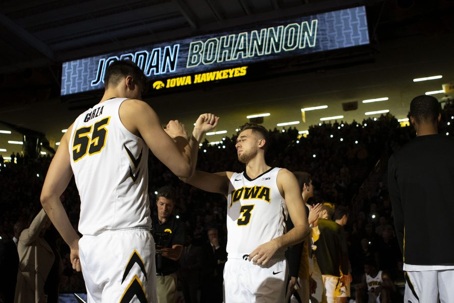 Iowa+guard+Jordan+Bohannon+is+introduced+during+the+Iowa%2FNorthwestern+men%27s+basketball+game+at+Carver-Hawkeye+Arena+on+Sunday%2C+February+10%2C+2019.+The+Hawkeyes+defeated+the+Wildcats%2C+80-79.+