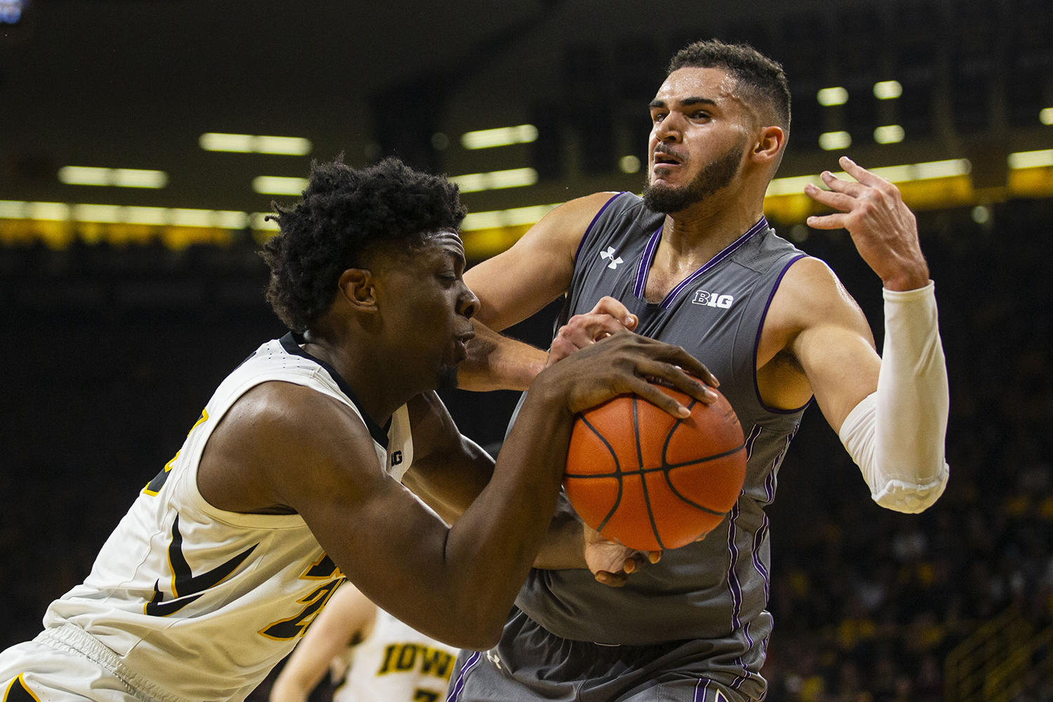 Iowa+forward+Tyler+Cook+attempts+to+gain+control+of+the+ball+during+the+Iowa%2FNorthwestern+men%27s+basketball+game+at+Carver-Hawkeye+Arena+on+Sunday%2C+February+10%2C+2019.+The+Hawkeyes+defeated+the+Wildcats%2C+80-79.
