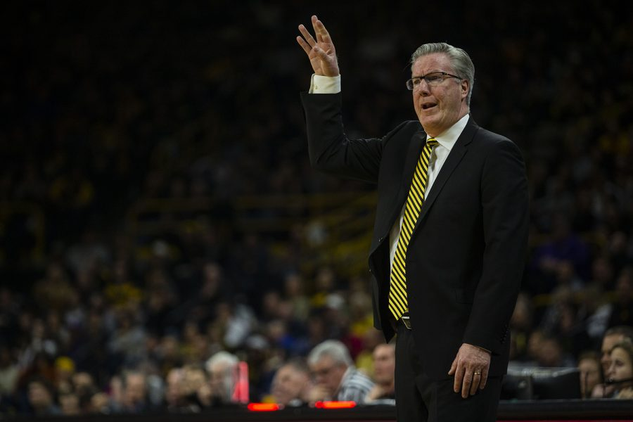 Iowa+head+coach+Fran+McCaffery+gestures++during+the+Iowa%2FNorthwestern+men%27s+basketball+game+at+Carver-Hawkeye+Arena+on+Sunday%2C+February+10%2C+2019.+