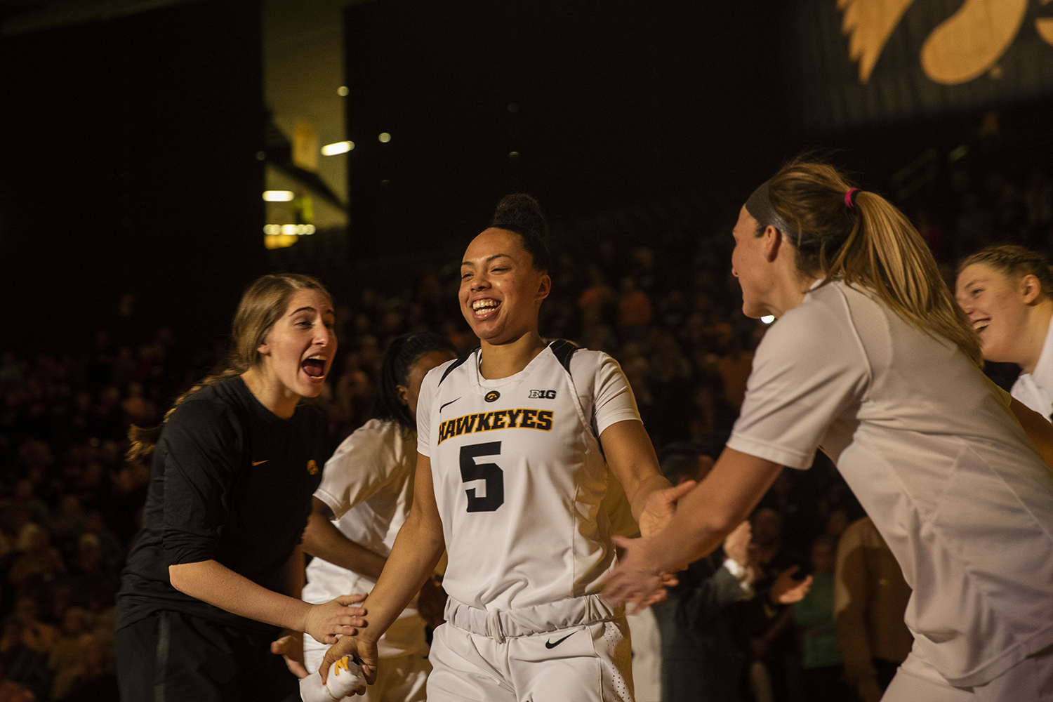 Iowa+guard+Alexis+Sevillian+high+fives+teammates+during+introductions+during+the+Iowa%2FIllinois+women%27s+basketball+game+at+Carver-Hawkeye+Arena+on+Thursday%2C+February+14%2C+2019.+The+Hawkeyes+defeated+the+Fighting+Illini%2C+88-66.+