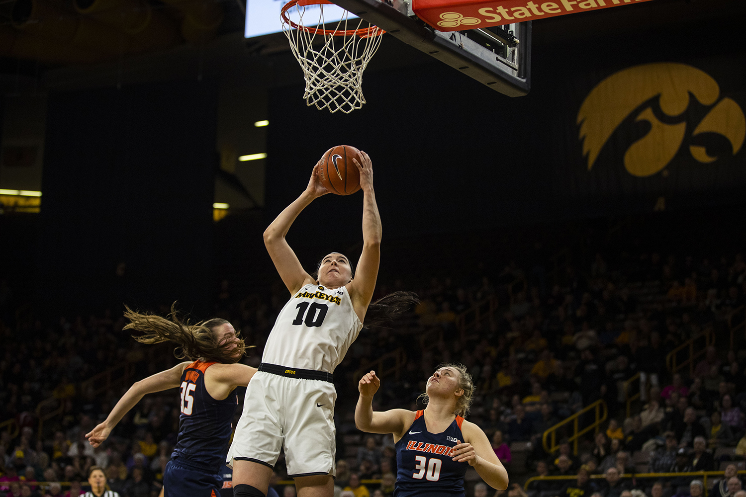 Iowa+center+Megan+Gustafson+grabs+her+own+rebound+during+the+Iowa%2FIllinois+women%27s+basketball+game+at+Carver-Hawkeye+Arena+on+Thursday%2C+February+14%2C+2019.+The+Hawkeyes+defeated+the+Fighting+Illini%2C+88-66.