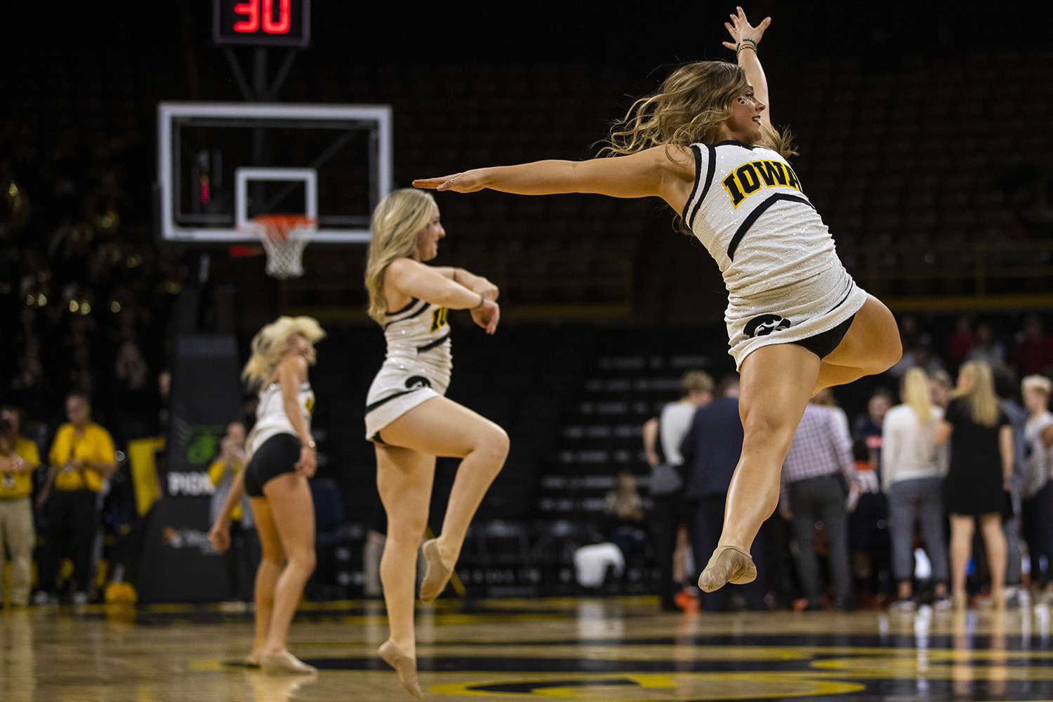 Iowa+Spirit+Squad+members+dance+during+a+timeout+during+the+Iowa%2FIllinois+women%27s+basketball+game+at+Carver-Hawkeye+Arena+on+Thursday%2C+February+14%2C+2019.+The+Hawkeyes+defeated+the+Fighting+Illini%2C+88-66.+
