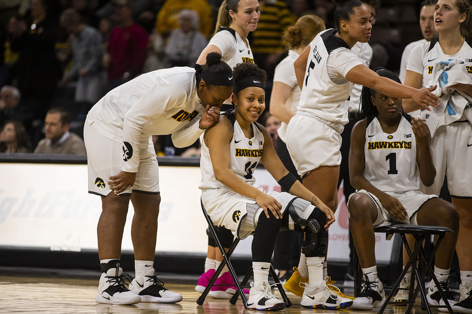 Iowa+guard+Tania+Davis+and+guard+Zion+Sanders+laugh+during+the+Iowa%2FIllinois+women%27s+basketball+game+at+Carver-Hawkeye+Arena+on+Thursday%2C+February+14%2C+2019.+The+Hawkeyes+defeated+the+Fighting+Illini%2C+88-66.+
