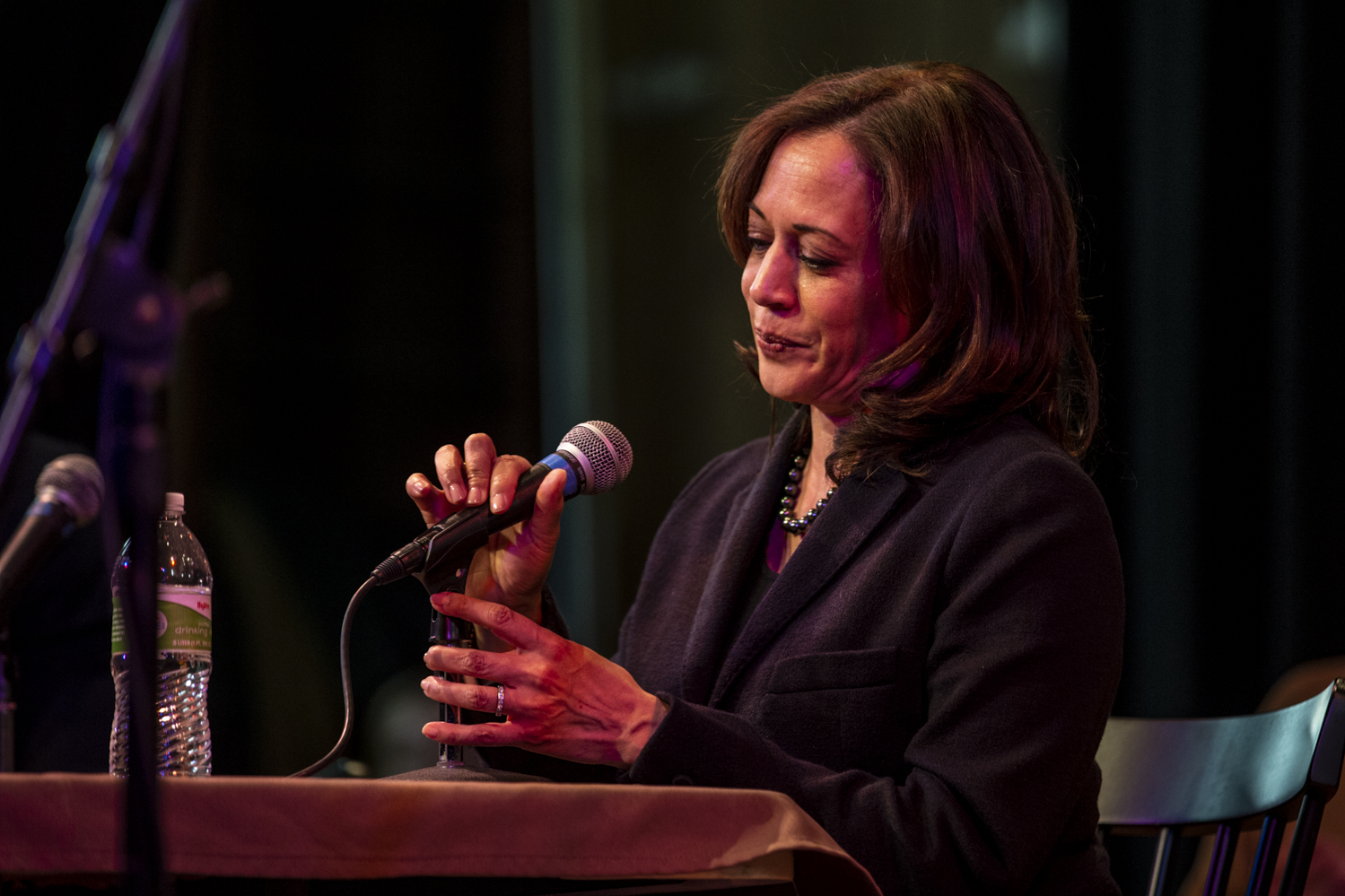 Sen. Kamala Harris, D-Calif., speaks during a during a recording of the Political Party Live podcast at CSPS Hall in Cedar Rapids on  Sunday Feb. 24, 2019.