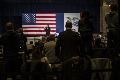 Sen. Kamala Harris, D-Calif., speaks during a town hall at the Quad Cities Waterfront  Convention Center in Bettendorf, Iowa on  Sunday Feb. 24, 2019.