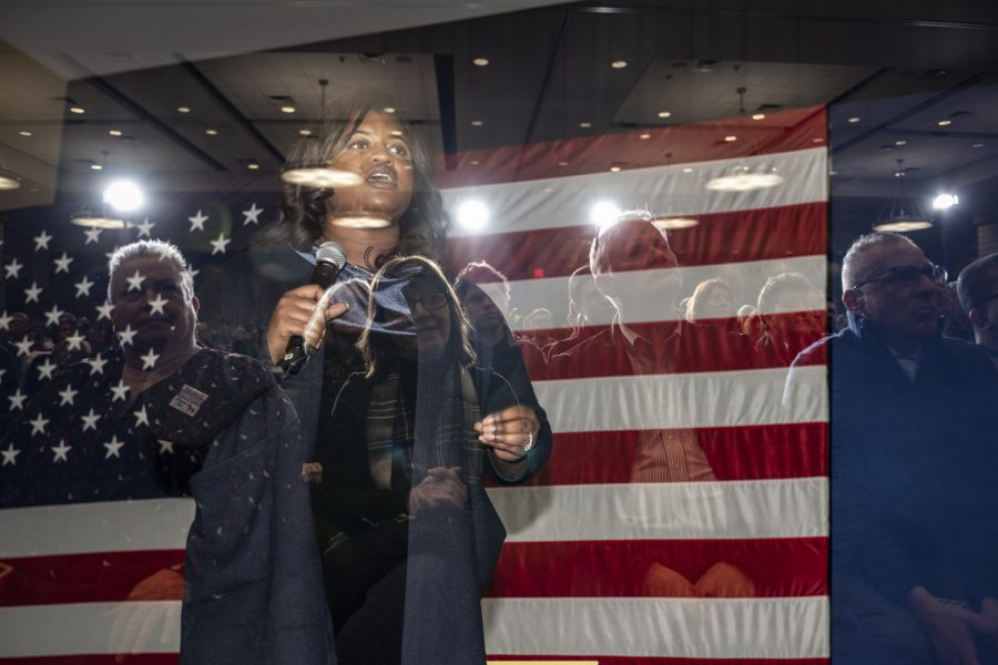 Former secretary of state candidate Deidre Dejear speaks during a town hall for Sen. Kamala Harris, D-Calif. at the Quad Cities Waterfront  Convention Center in Bettendorf, Iowa on  Sunday Feb. 24, 2019. Dejear was the chair of Harris' campaign in Iowa.