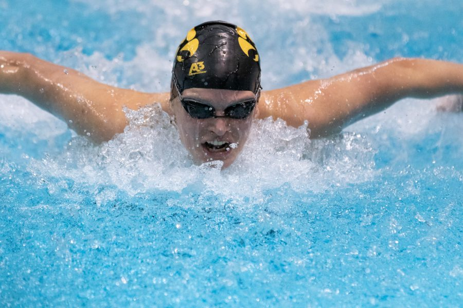 Iowa+swimmer+Kelsey+Drake+swims+the+100m+butterfly+during+a+swim+meet+against+the+University+of+Northern+Iowa+and+Western+Illinois+University+on+Friday%2C+Feb.+1%2C+2019.+