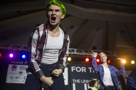 The Men of Morale perform in the lip synch battle during Dance Marathon 25 at the Iowa Memorial Union on Friday Feb 1, 2019.