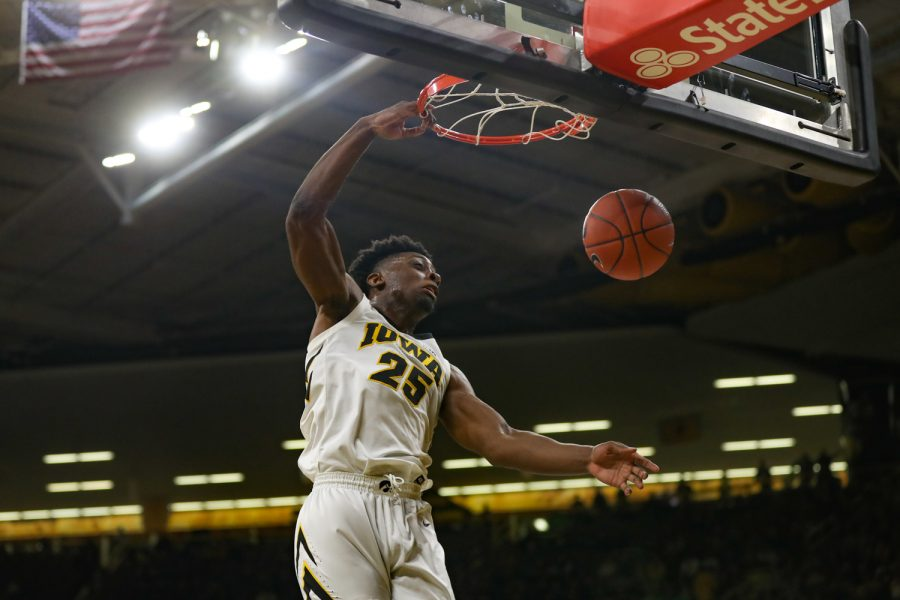 Iowa+forward+Tyler+Cook+%2825%29+goes+for+a+dunk+during+a+basketball+game+against+Maryland+at+Carver-Hawkeye+Arena+on+Tuesday%2C+Feb.+19%2C+2019.+The+Terrapins+defeated+the+Hawkeyes+66-65.