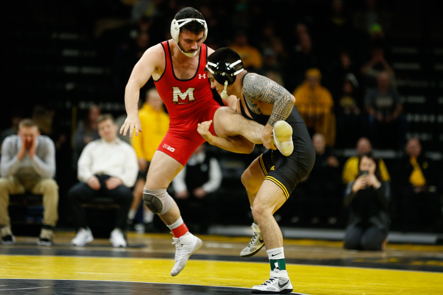 Iowa wrestler No. 12 Pat Lugo grapples with Maryland Wrestler Pete Tedesco in the 149-pound weight class match during a wrestling dual meet at Carver-Hawkeye Arena on Friday, Feb. 8, 2019. Lugo won via tech fall, 23-8, and the Hawkeyes defeated the Terrapins, 48-0.